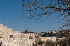 Temple Mount in Jerusalem, with Al-Aqsa Mosque and Old City wall. In bright day Stock Photography