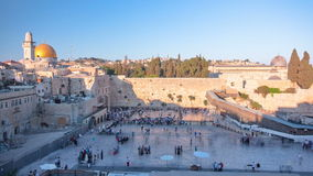 The Temple Mount in Jerusalem, including the Western Wall and the golden Dome of the Rock at Sunset timelapse stock footage