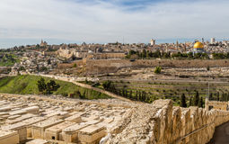 Temple Mount and Jewish Cemetery in Jerusalem Royalty Free Stock Photography
