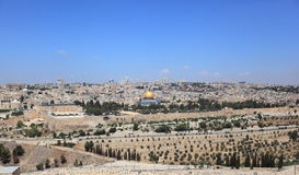 The Temple Mount from the Mount of Olives Stock Photo