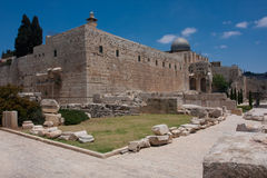 Temple mount in the old city of Jeruslaem royalty free stock image