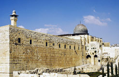 Temple Mount Southern and Western Wailing Wall. Southern and Western walls of the Temple Mount and Al-Aqsa Mosque, Jerusalem royalty free stock photo