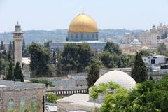 Temple Mount, view from walls of Jerusalem. Stock Image
