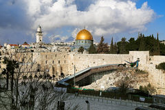 Temple Mount, West Wall and Dome of the Rock mosque in Jerusalem Royalty Free Stock Photography
