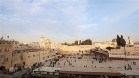 The Temple Mount - Western Wall and the golden Dome of the Rock mosque in the old city of Jerusalem, Israel Time laps stock footage