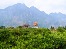 Temple on mountain. Temple on green mountain,Lao Stock Photography