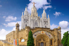 Temple on mountain, Barcelona.Spain Royalty Free Stock Photos