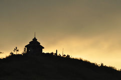 Temple on mountain in evening Stock Images