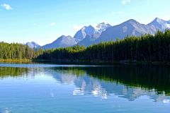 Temple Mountain reflection in Herbert Lake. Royalty Free Stock Photography