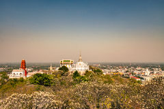 Temple on mountain in Thailand. Temple on top of mountain in Thailand at morning royalty free stock photos
