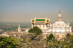 Temple on mountain in Thailand. Temple on top of mountain in Thailand at morning stock photography