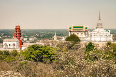 Temple on mountain in Thailand. Temple on top of mountain in Thailand at morning royalty free stock photography