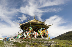Temple on a mountain in Tibet of China Stock Photos