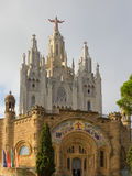 Temple at mountain Tibidabo top in Barcelona. Royalty Free Stock Photography