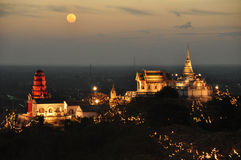Temple on mountain top at Khao Wang Palace during festival, Petc Stock Photography