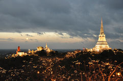 Temple on mountain top at Khao Wang Palace during festival, Petchaburi stock image