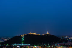 Temple on mountain top at Khao Wang Palace, Petchaburi, Thailand royalty free stock image