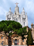 Temple on mountain top - Tibidabo in Barcelona Stock Photo
