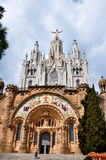 Temple on mountain top - Tibidabo in Barcelona Royalty Free Stock Image