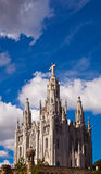 Temple on mountain top - Tibidabo in Barcelona city. Spain Royalty Free Stock Photography