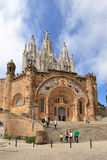 Temple on mountain top - Tibidabo in Barcelona Stock Images