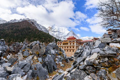 The temple in the mountains. At Yading, China Stock Photo