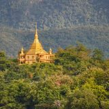 Temple and mountains. Beautiful landscape. Laos. Stock Images