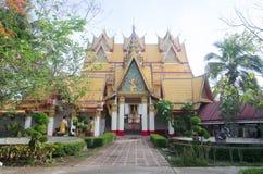 Temple myanmar style at sangklaburi Stock Images