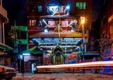 Temple near Durbar Square of Kathmandu at night. Nepal Stock Photography