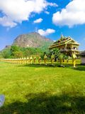 The temple it near mountain stock photography