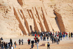 Temple of Nefertari. People outside entrance to Temple of Nefertiti in Egypt Stock Image