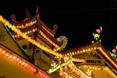temple neuf allumé chinois en hausse l'an Photographie stock libre de droits