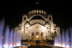 Temple in the night. Temple of St. Sava is located in Vracar plateau in center of Belgrade Royalty Free Stock Image