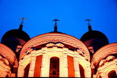Temple at night. Beautiful temple at night,Tallin city royalty free stock photography