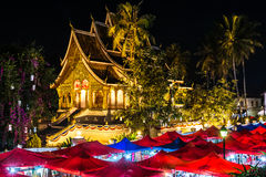 Temple in the night, Luang Prabang, Laos stock image