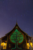 Temple at night with milky way. Wat Pruprow in Sirinthorn Ubonratchatani Stock Photography