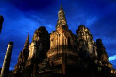 Temple night scene. Imposing night scene of a temple in Sukhothai in Northern Thailand Royalty Free Stock Photo