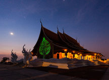 Temple at night. Wat Pruprow in Sirinthorn Ubonratchatani Stock Photo