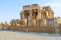 The Temple on Nile River. The ancient Kom Ombo Temple stands at the bank of Nile River and is the important point of Nile Cruise excursions, Upper Egypt stock image