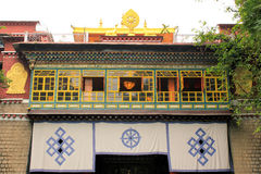 Temple at Norbuligka Institute. Norbulingka Institute, founded in 1988 by Kelsang and Kim Yeshi at Sidhpur, near Dharamshala, India, is dedicated to the Stock Photos