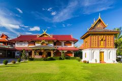 Temple in north of Thailand, the left is library of Buddhist Scriptures. Buddhist temple of Wat Huakuang Royalty Free Stock Photos