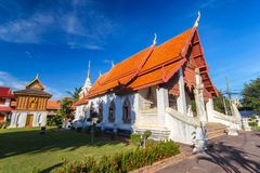 Temple in north of Thailand, the left is library of Buddhist Scriptures Royalty Free Stock Photo