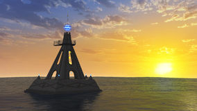 Temple on the ocean. 3D rendered fantasy temple on the ocean during sunset Stock Photos
