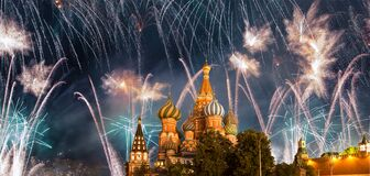 Temple Of Basil The Blessed And Fireworks In Honor Of Victory Day Celebration WWII, Red Square, Moscow, Russia Royalty Free Stock Image