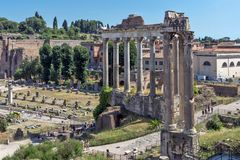 Free Temple Of Saturn At Roman Forum,  View From Capitoline Hill In City Of Rome, Italy Stock Images - 147844474