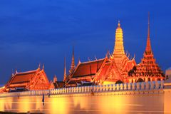 Temple Of The Emeral Buddha In Night Scene Stock Photography