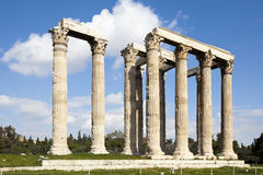Temple of Olympian Zeus. The Temple of Olympian Zeus, also known as the Olympieion, is a colossal ruined temple in the centre of the Greek capital Athens that Stock Photo