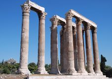 The Temple of Olympian Zeus. (Greek: Naos tou Olimpiou Dios), also known as the Olympieion, is a temple in Athens. Although work began in the 6th century BC, it Stock Photo
