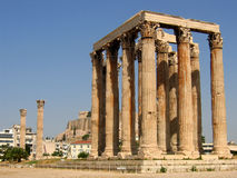 Temple of Olympian Zeus. With Acropolis in background stock photo