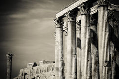 Temple of Olympian Zeus and Acropolis, Athens Stock Image